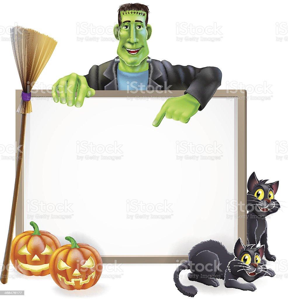 Frankenstein Halloween Sign royalty-free stock vector art