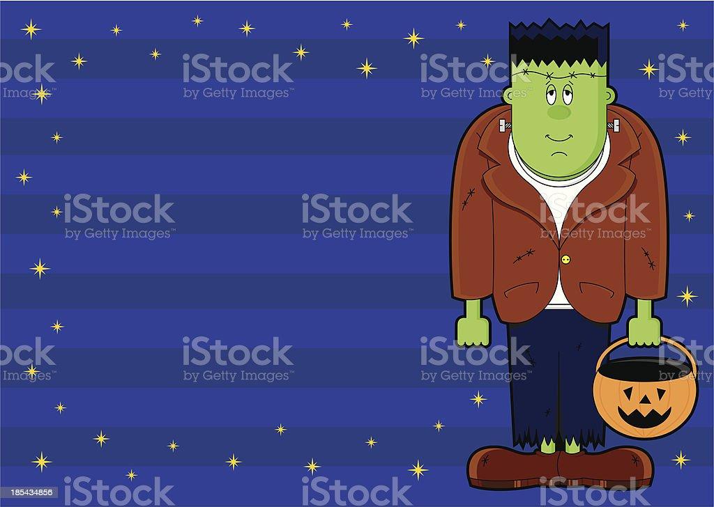 Frankenstein Halloween Striped Invite royalty-free stock vector art
