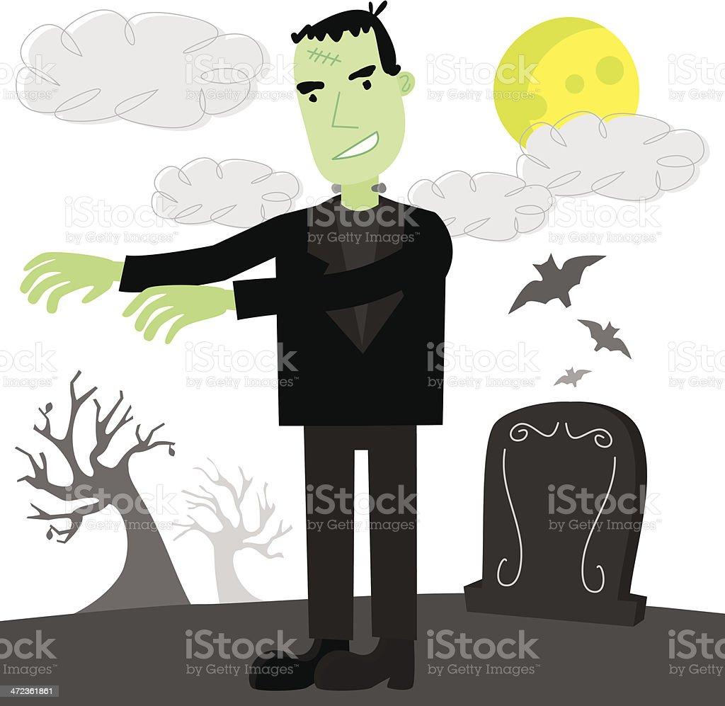 Frankenstein in Spooky Night Scene vector art illustration