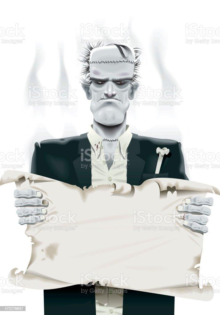 Frankenstein monster halloween card royalty-free stock vector art