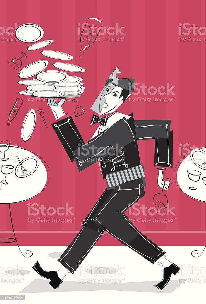 frantic waiter vector art illustration