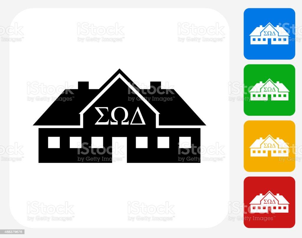 Frat House Icon Flat Graphic Design vector art illustration