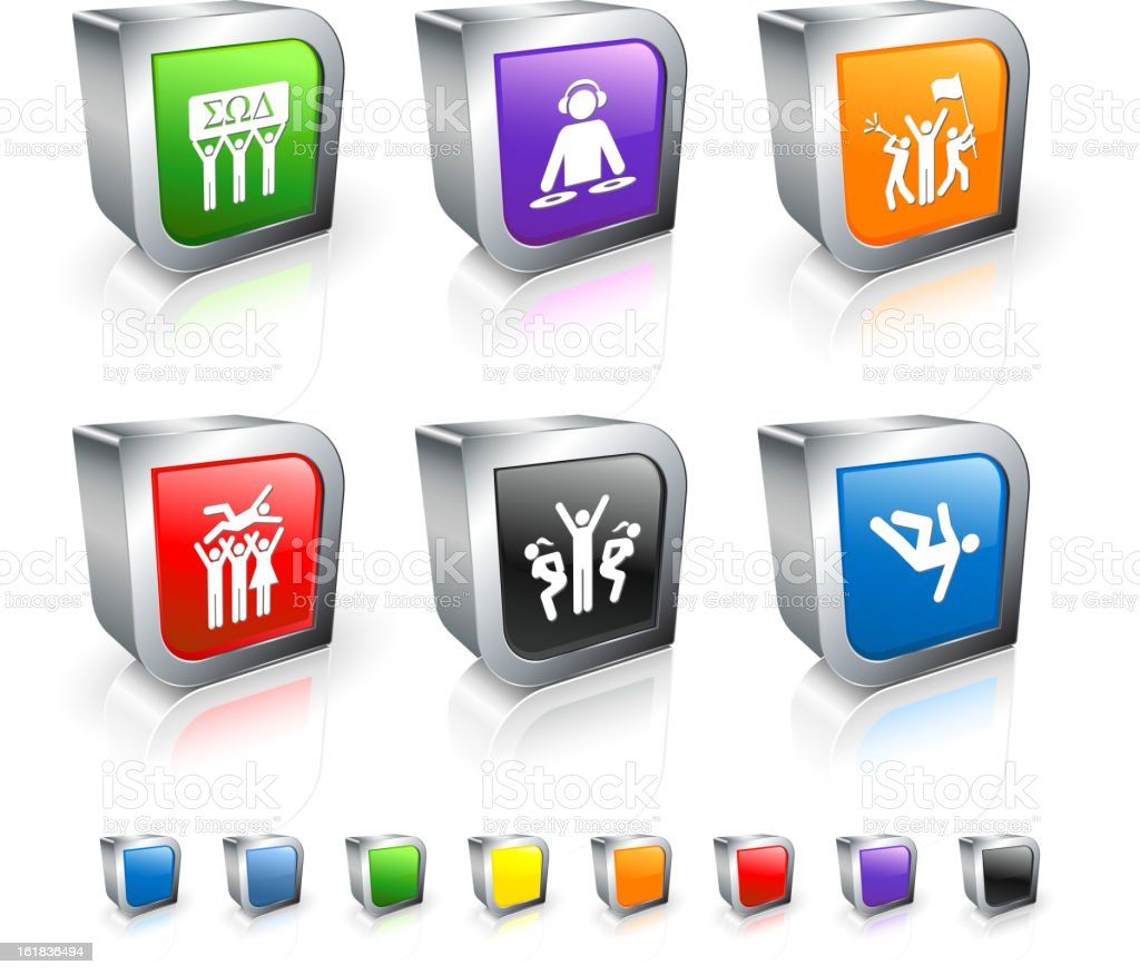 Fraternity Party 3D icon set with Metal Rim royalty-free stock vector art