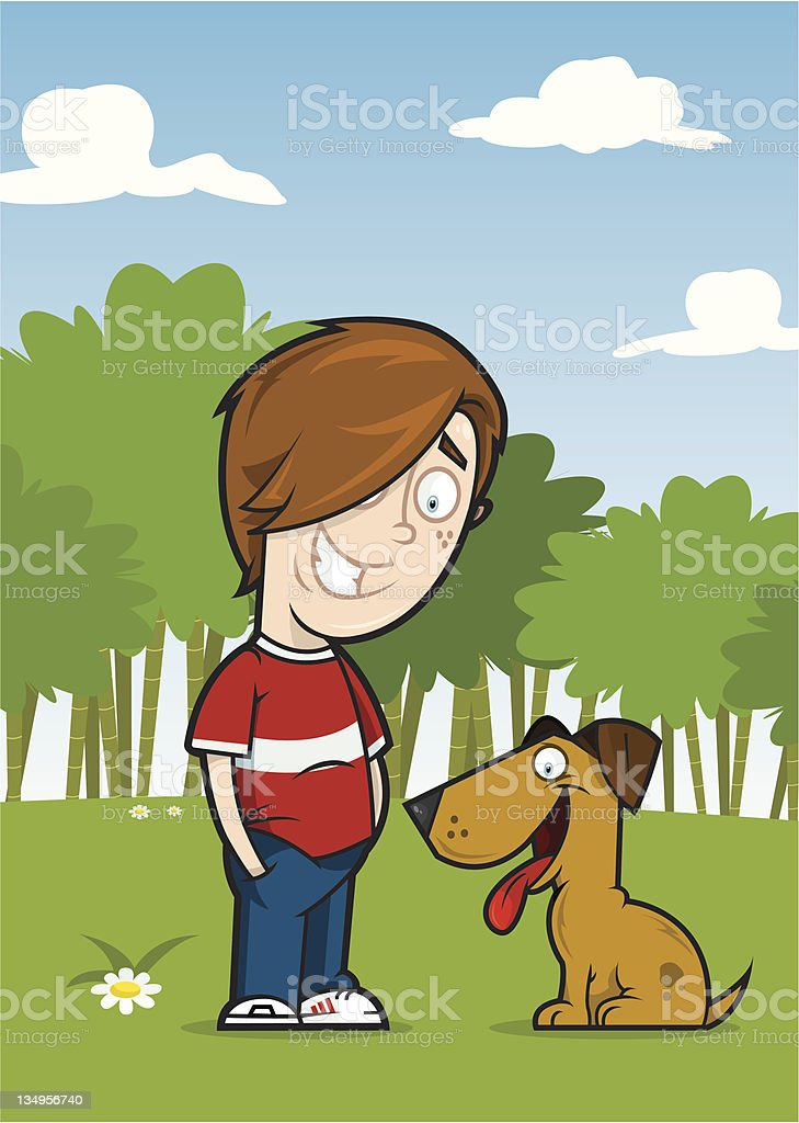 Freddie and his dog royalty-free stock vector art