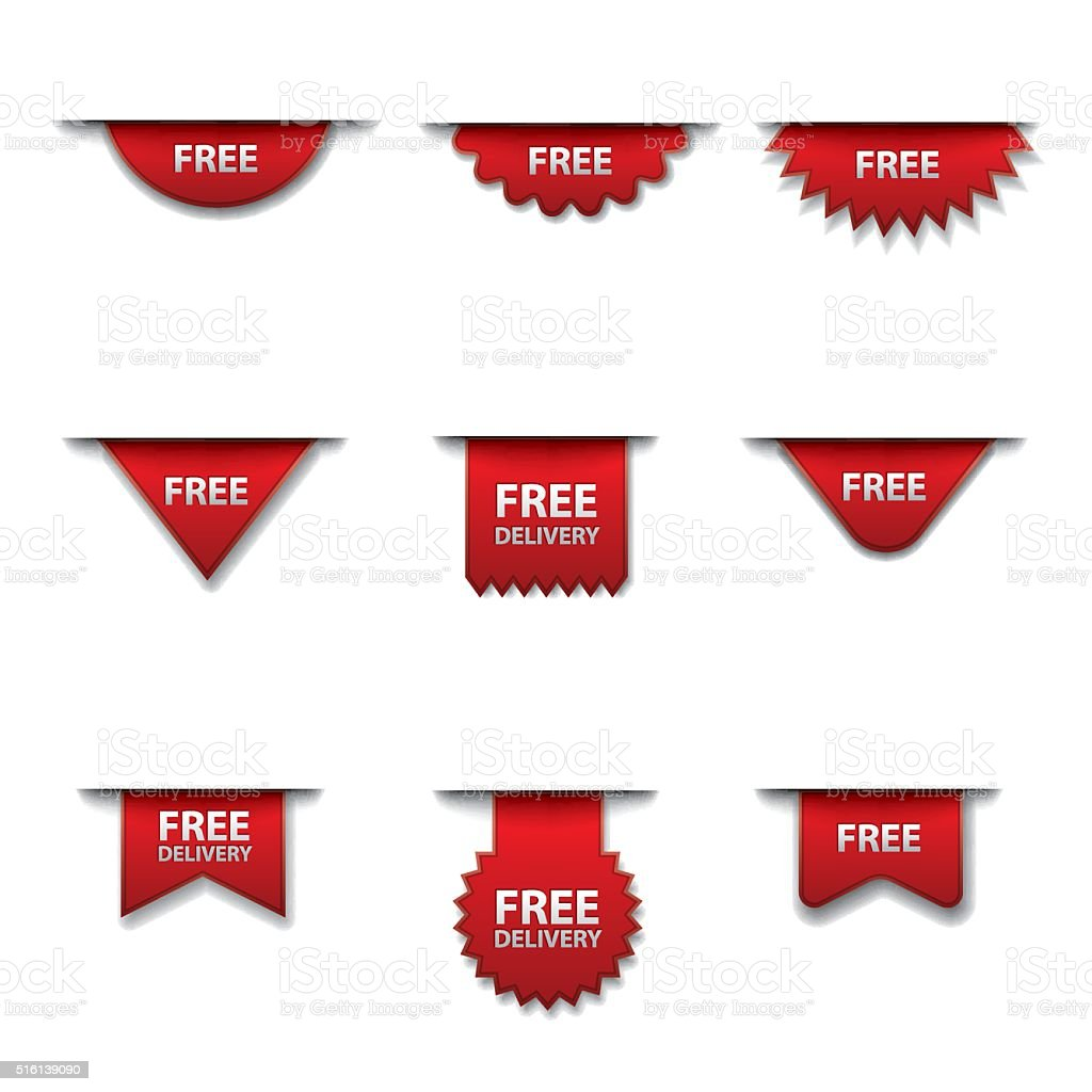 free advertising badges vector art illustration