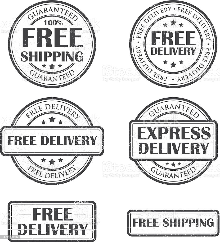 Free and express delivery stamps vector art illustration