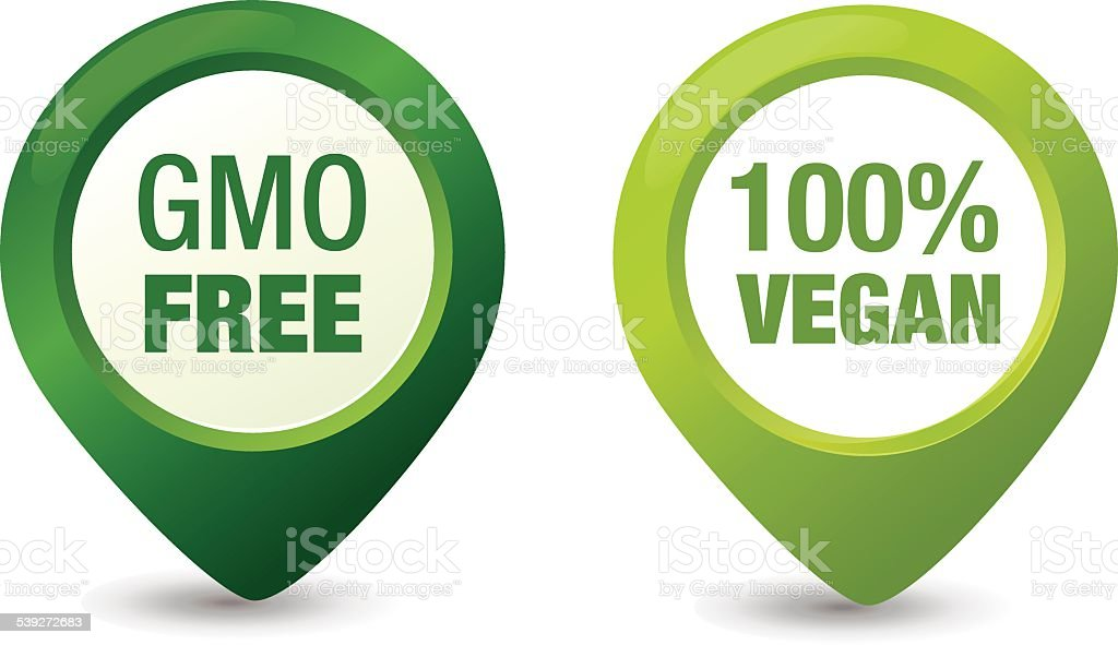 GMO Free and Vegan Pointers vector art illustration