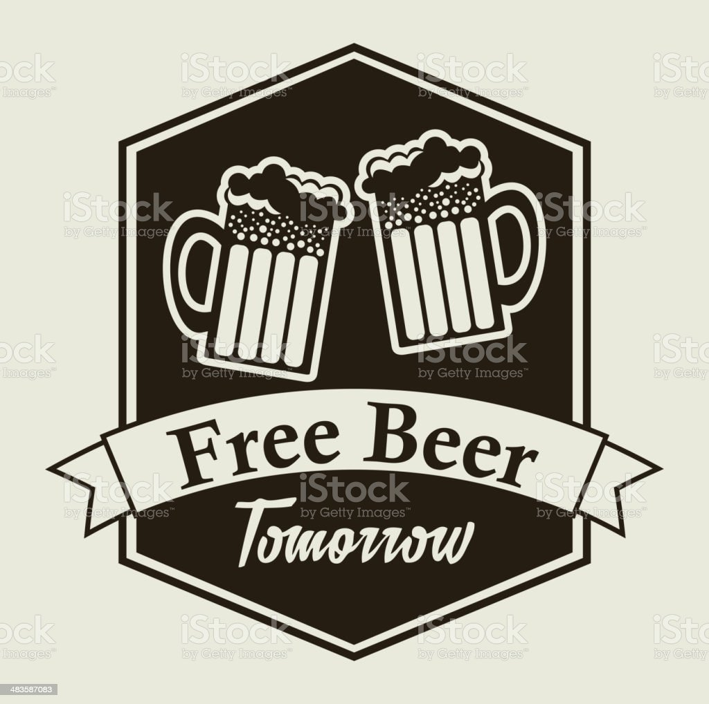free beer vector art illustration