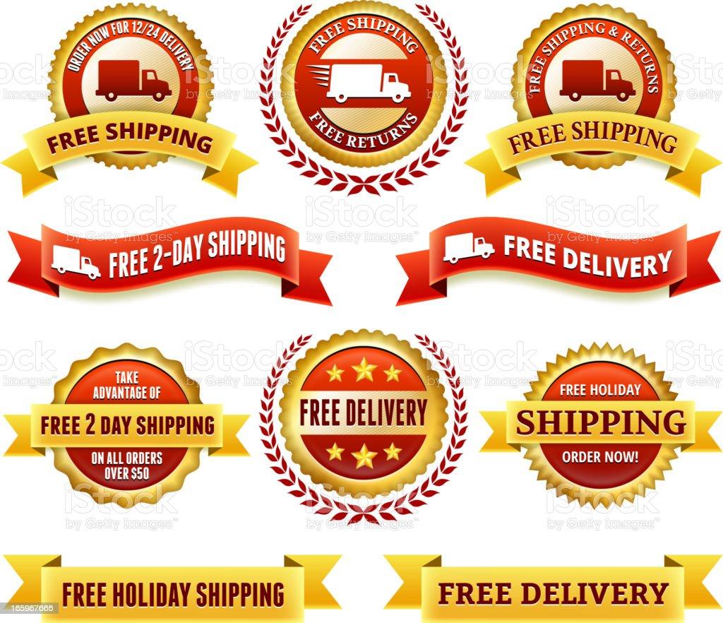 Free Delivery badge set vector art illustration