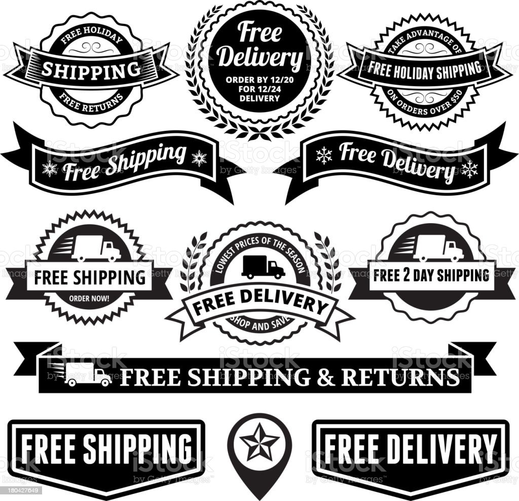 Free Delivery Black and White Badge Set royalty-free stock vector art