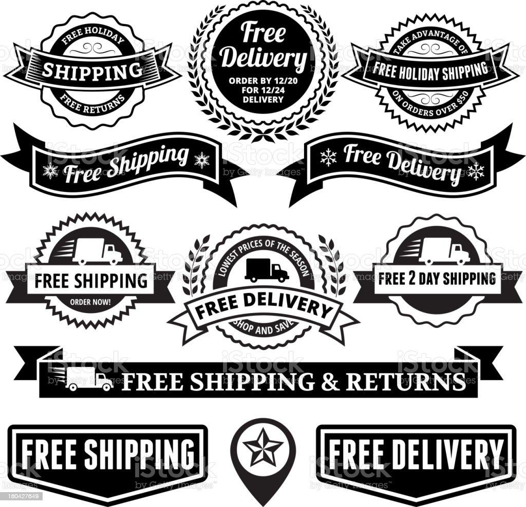 Free Delivery Black and White Badge Set vector art illustration