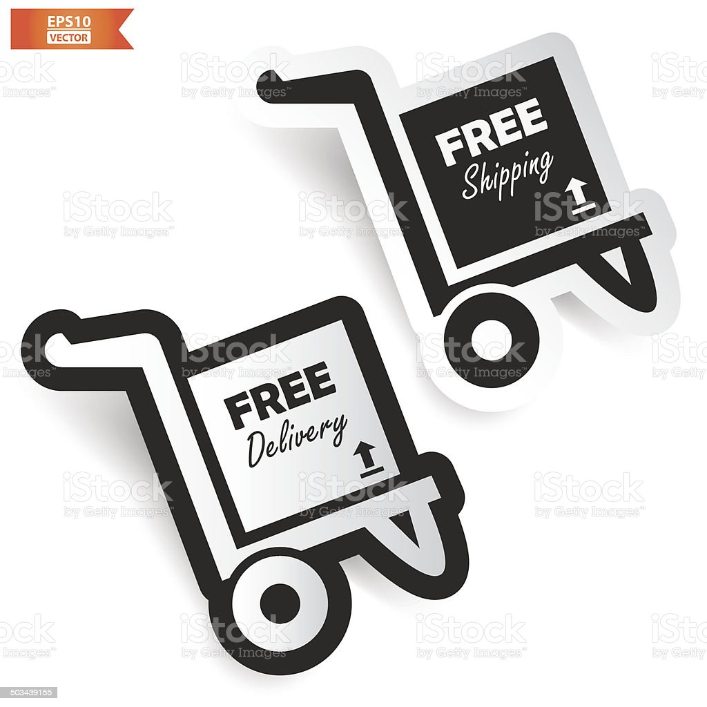 Free delivery , Free shipping icon on grey background. Eps10 Vector royalty-free stock vector art