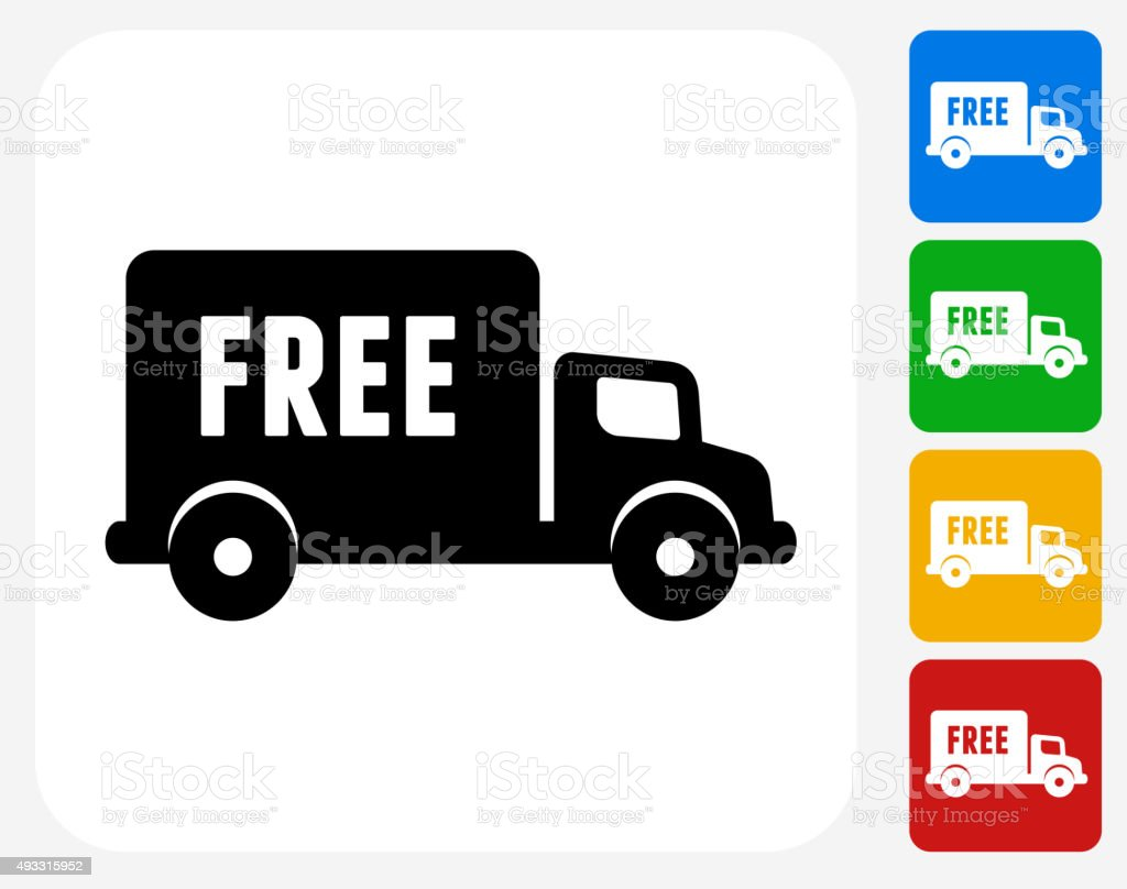 Free Delivery Icon Flat Graphic Design vector art illustration