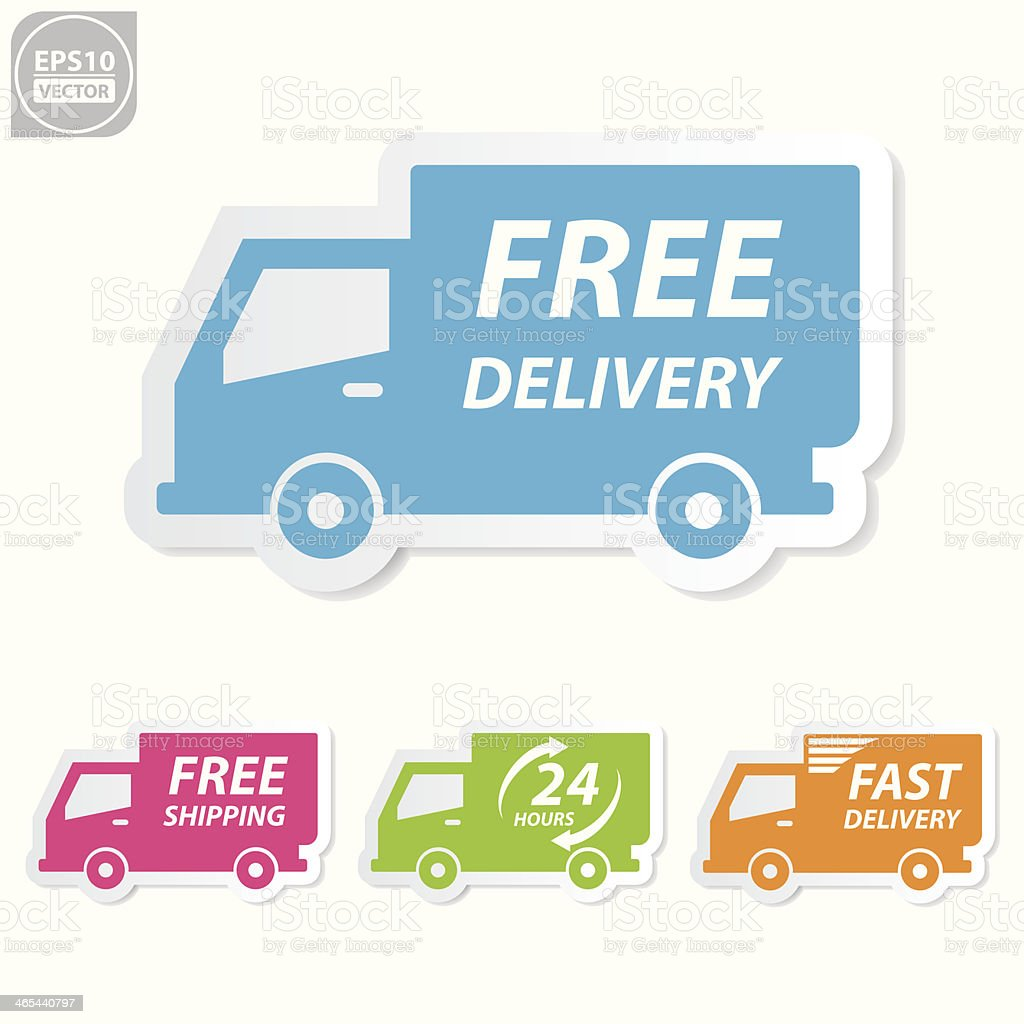 Free delivery icons set. vector art illustration
