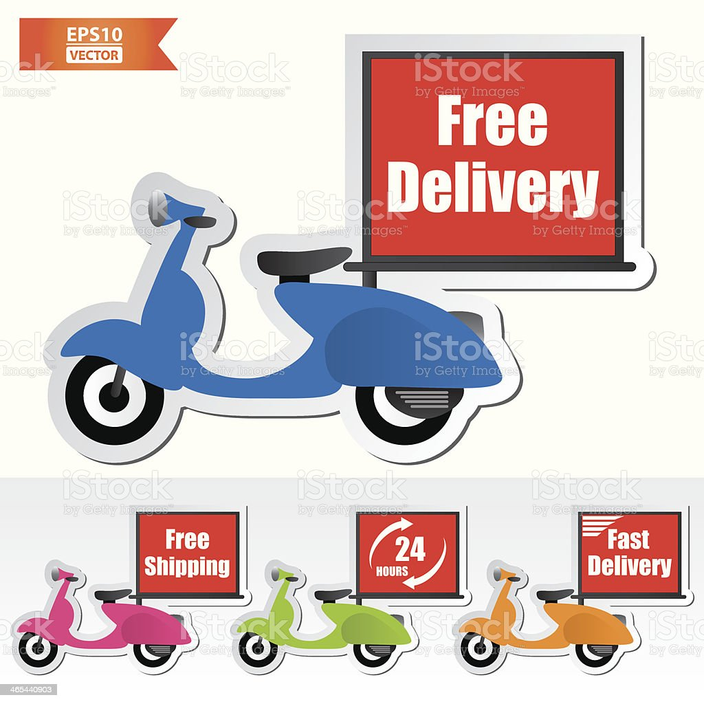 Free delivery motorcycle icons set. royalty-free stock vector art