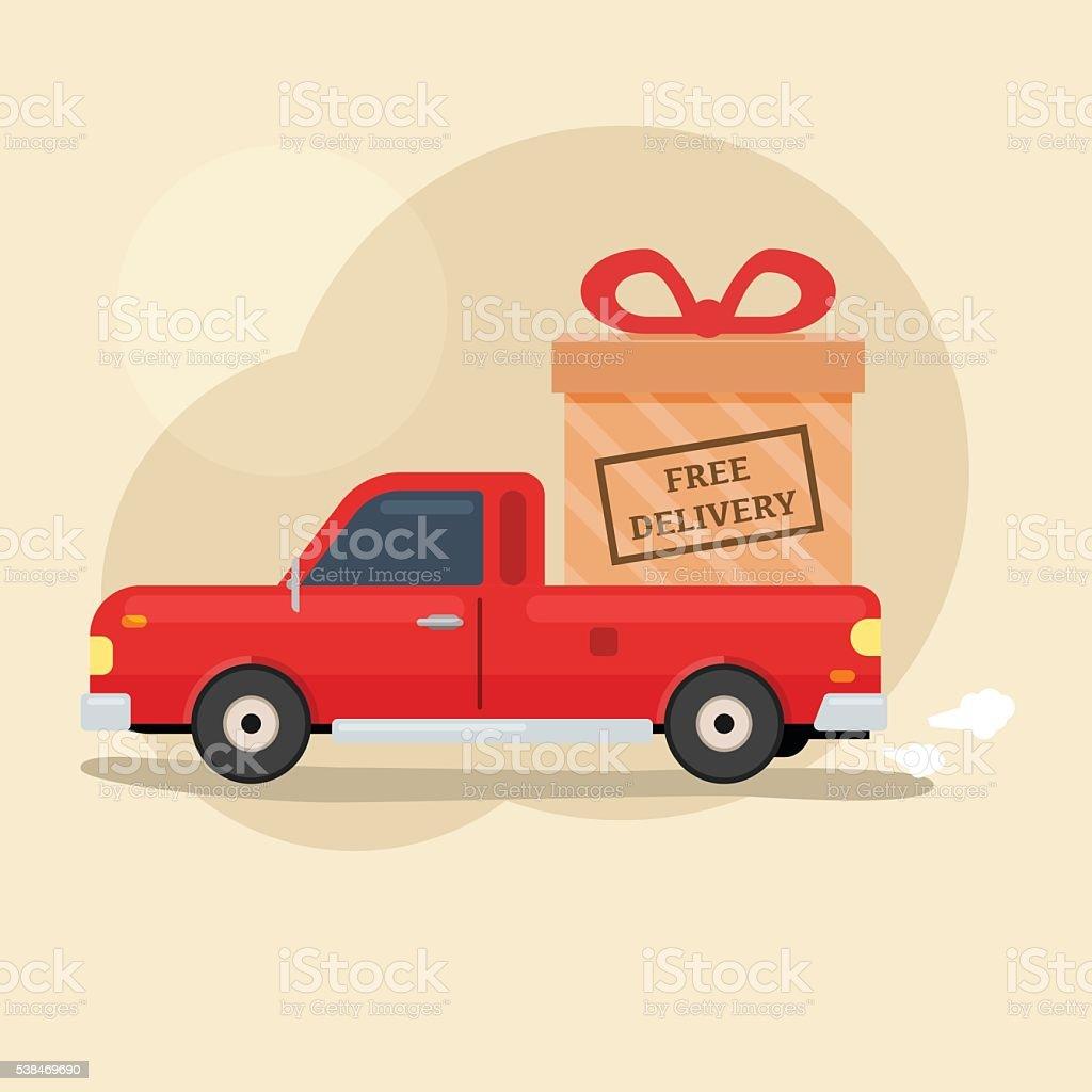 Free Delivery pickup car vector art illustration