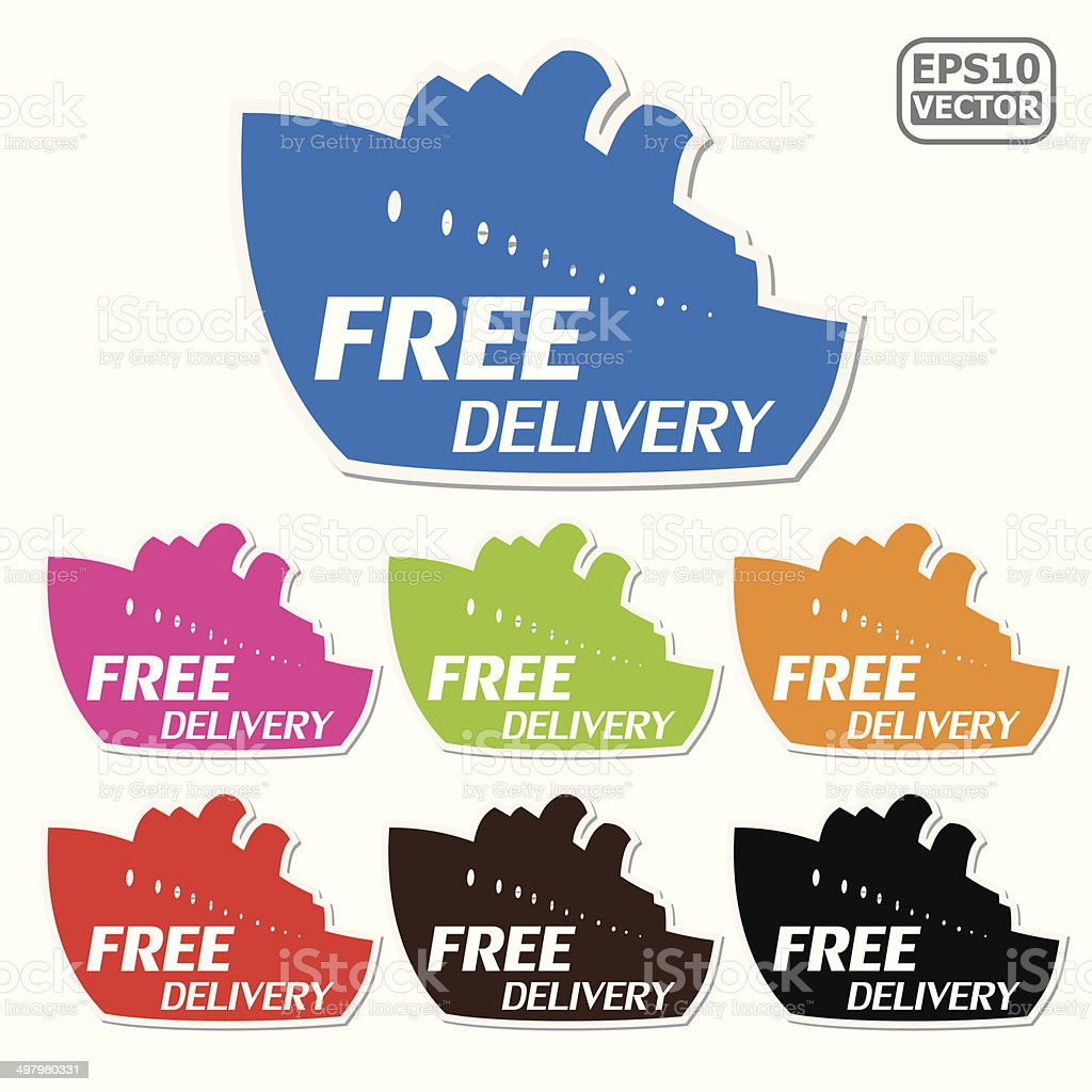 Free Delivery signs set presented by ship for business.-eps10 vector royalty-free stock vector art
