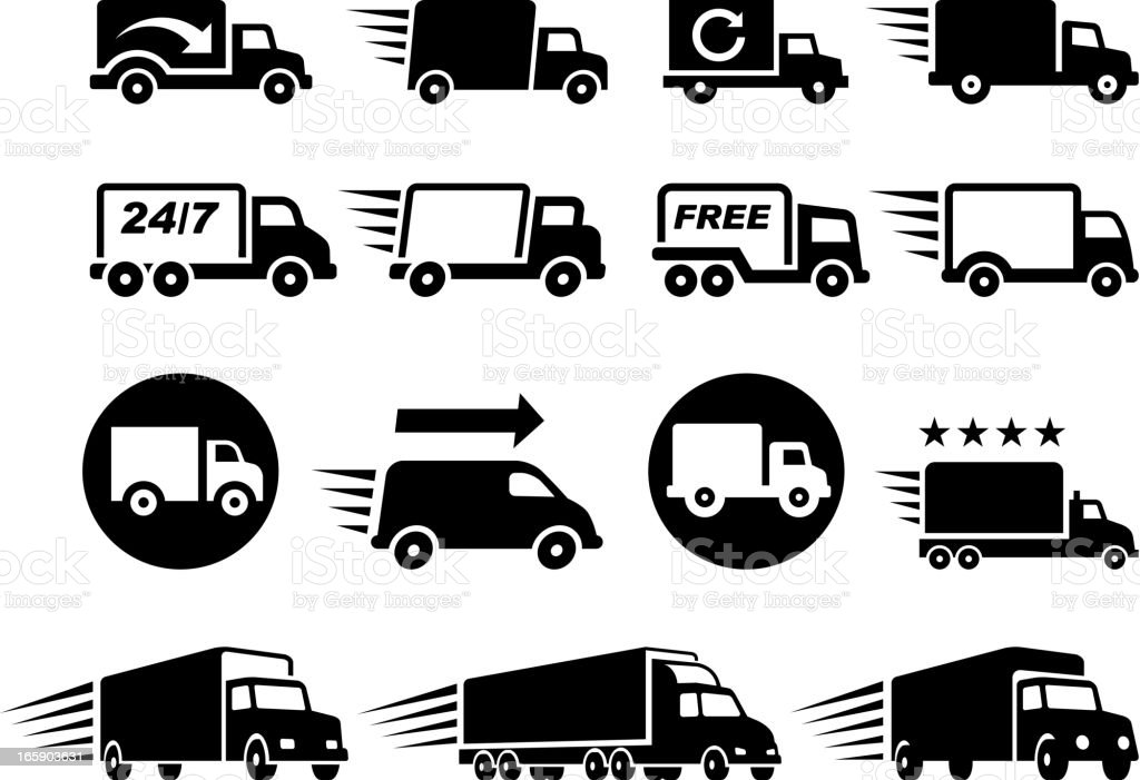 Free Delivery Trucks black and white icon set vector art illustration