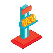Free fall tower isometric 3d icon