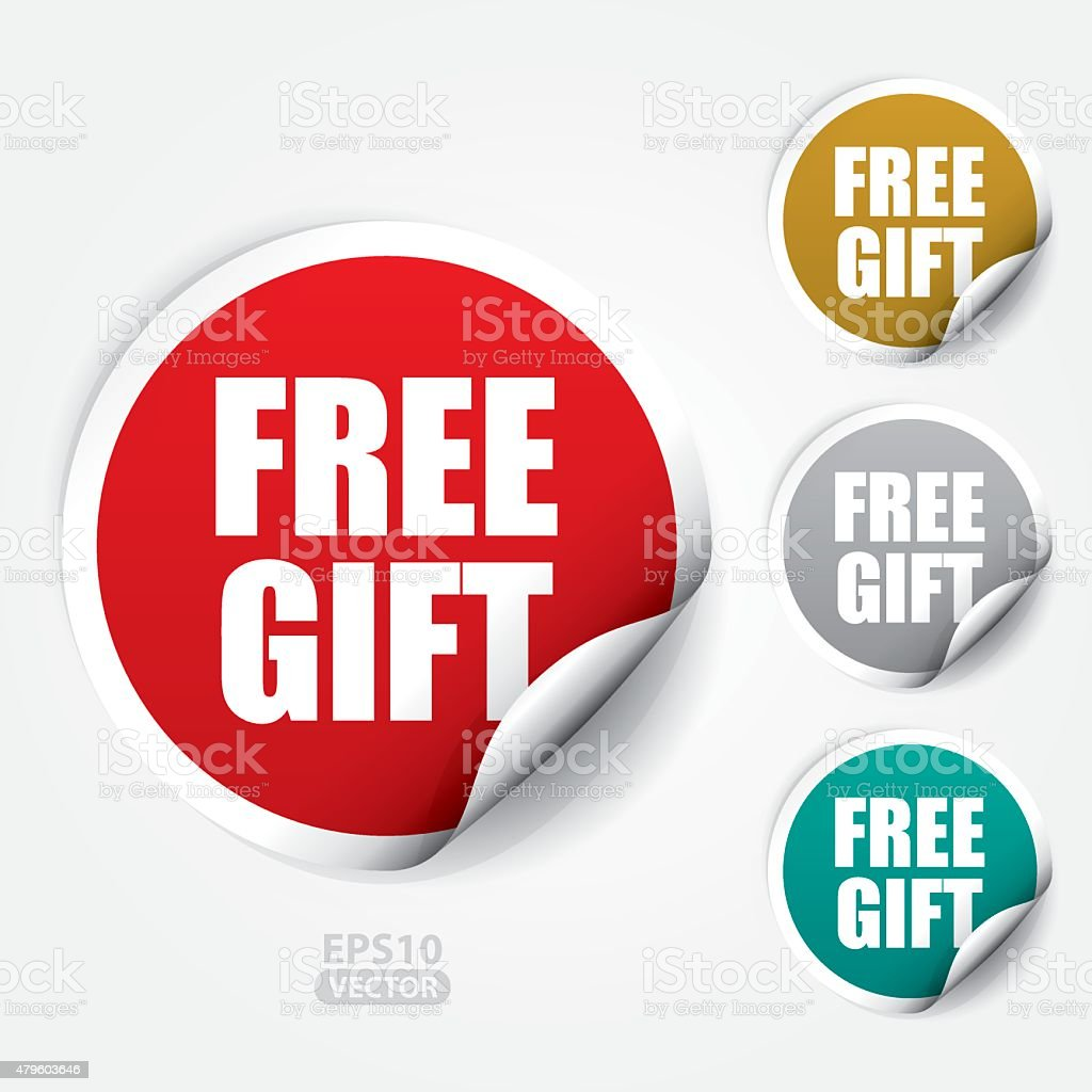 Free Gift ticker and Tag vector art illustration