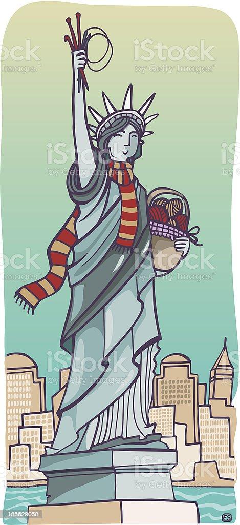 Free kintting in New York vector art illustration