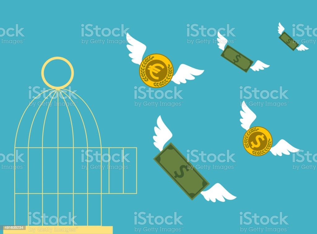 Free money.  Business concept. vector art illustration