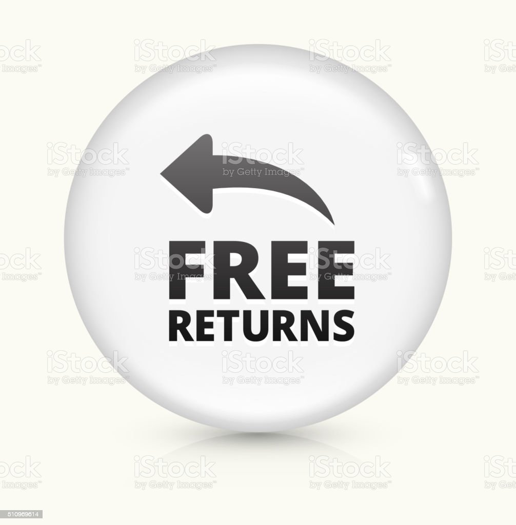 Free Returns icon on white round vector button vector art illustration