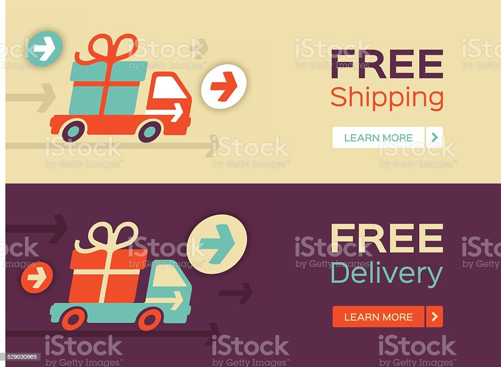 Free Shipping and Delivery vector art illustration