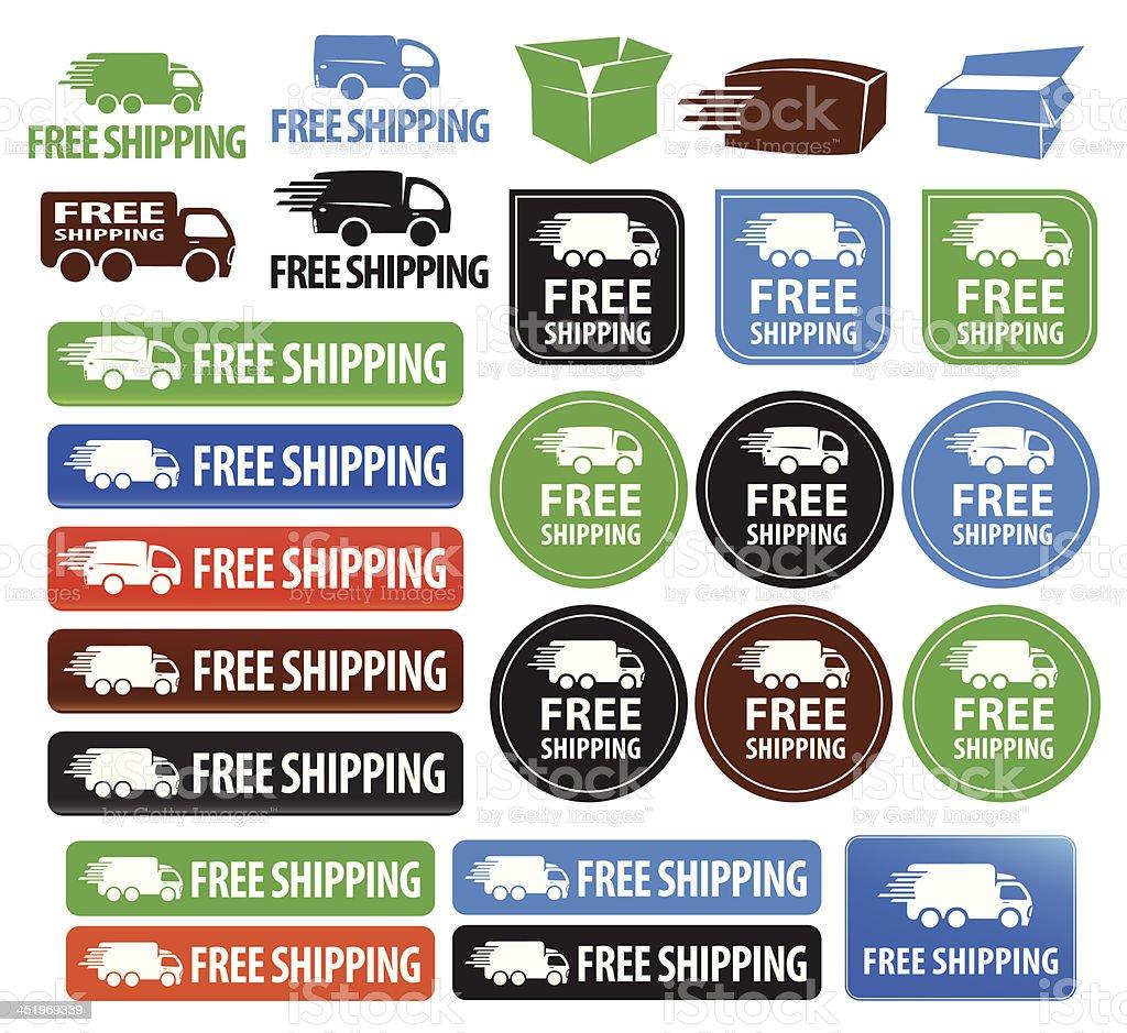 Free Shipping Badges vector art illustration