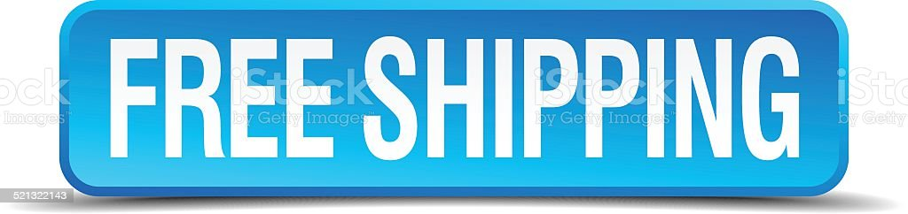 free shipping blue 3d realistic square isolated button vector art illustration
