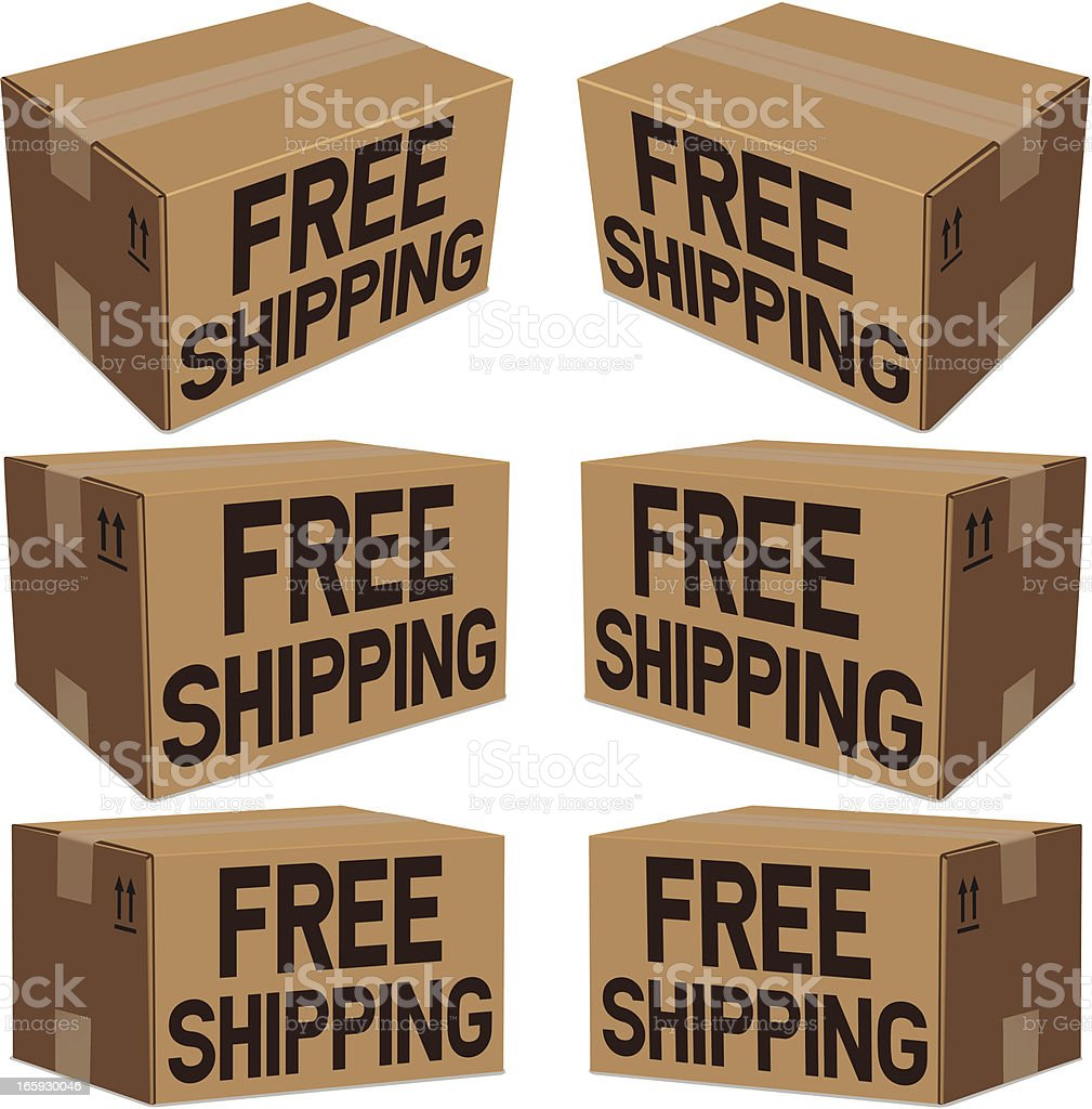 Free Shipping Boxes royalty-free stock vector art