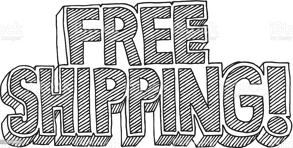 Free Shipping! Cartoon Style Text Drawing vector art illustration