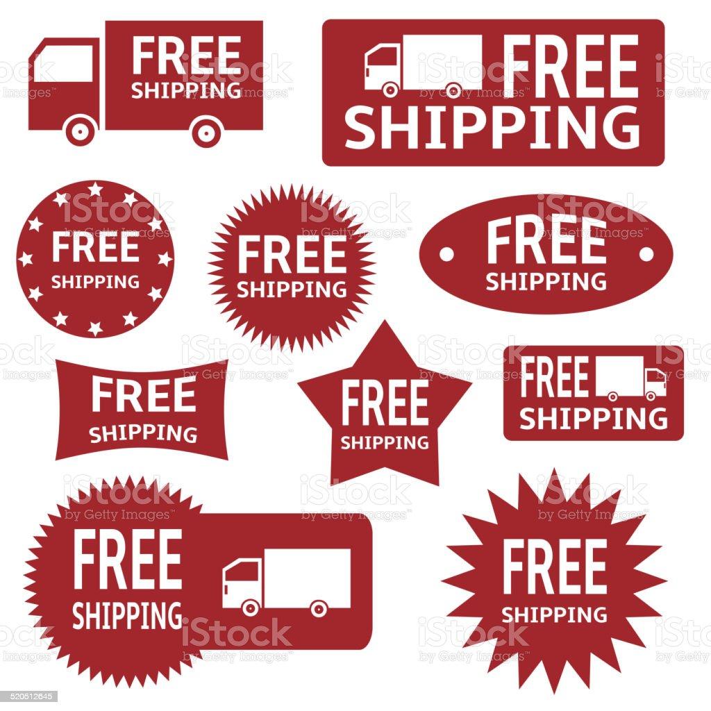 free shipping labels vector art illustration