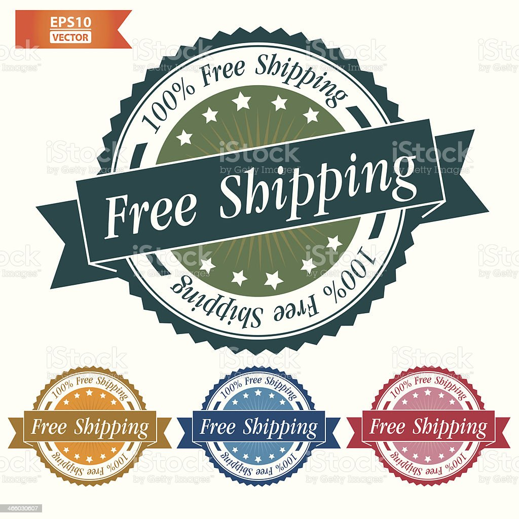 Free shipping sign with colorful set. vector art illustration