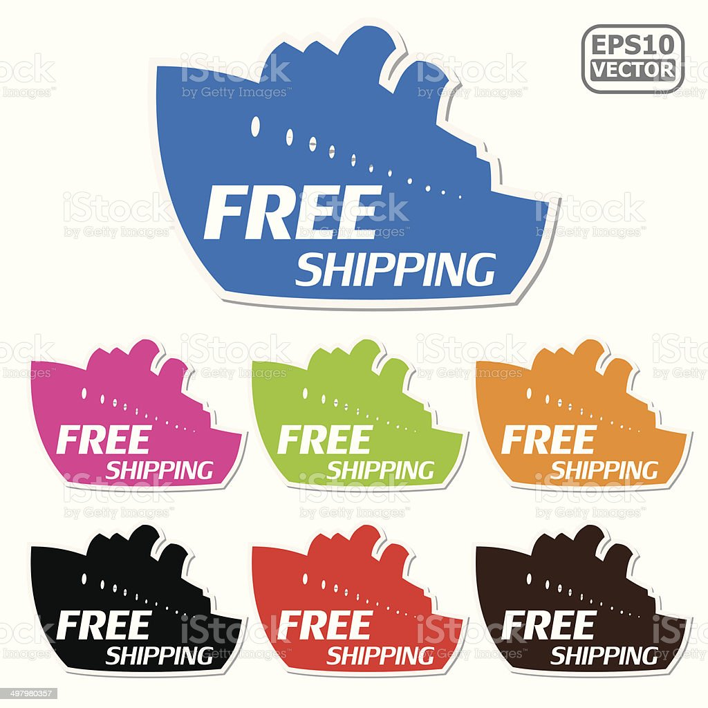 Free Shipping signs set presented by ship for business.-eps10 vector royalty-free stock vector art