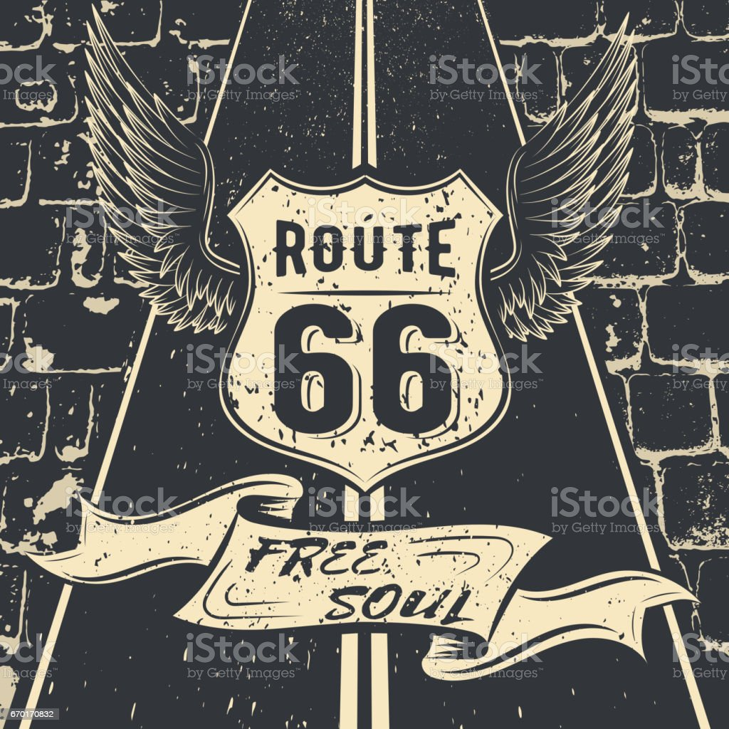 Free soul Route 66. Vector illustration design racing emblem with highway sign Route 66, the wings, the highway, on a background of a paved road vector art illustration