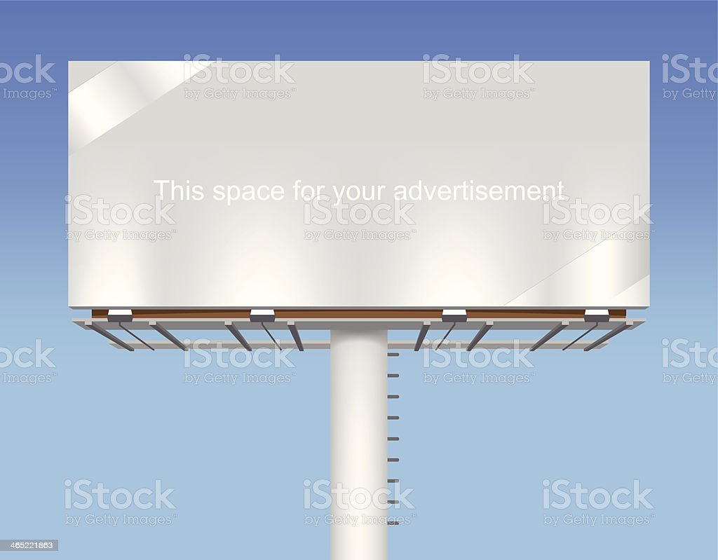 Free space billboard on blue sky. vector art illustration