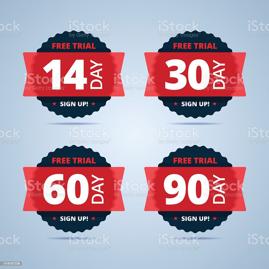 Free trial badges. 14, 30, 60 and 90-day stickers. vector art illustration