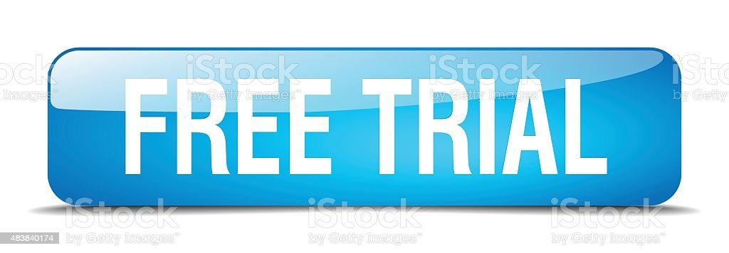 free trial blue square 3d realistic isolated web button vector art illustration