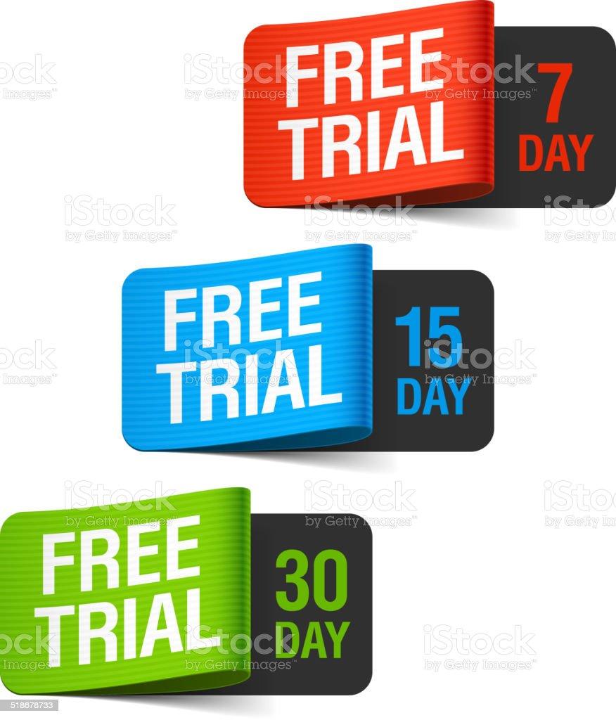 Free trial labels vector art illustration
