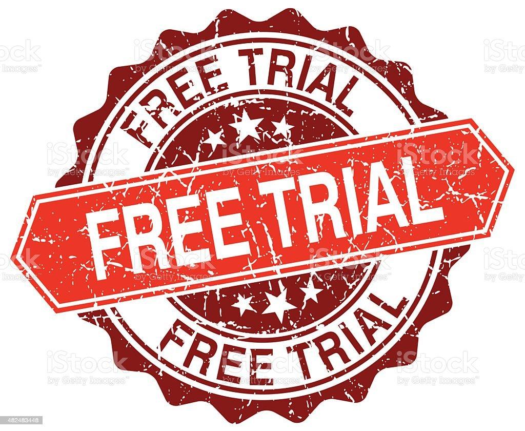 free trial red round grunge stamp on white vector art illustration
