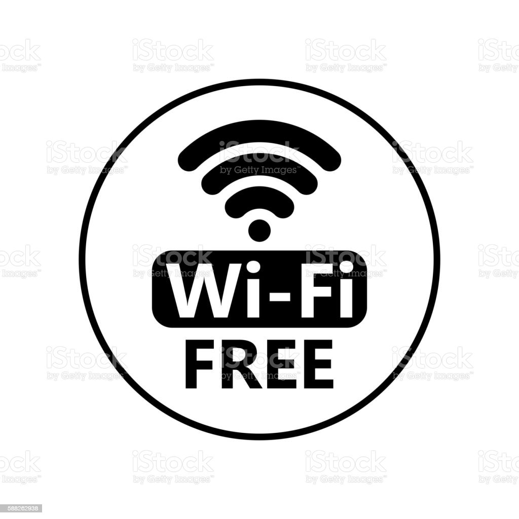 Free wifi icon. Wireless connection sticker vector art illustration