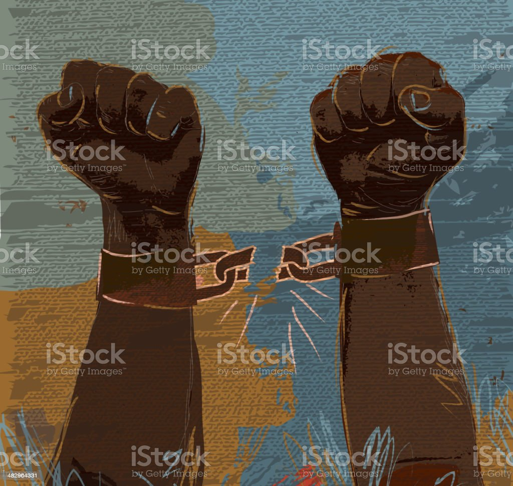 Freedom: breaking chains African american hands and arms vector art illustration
