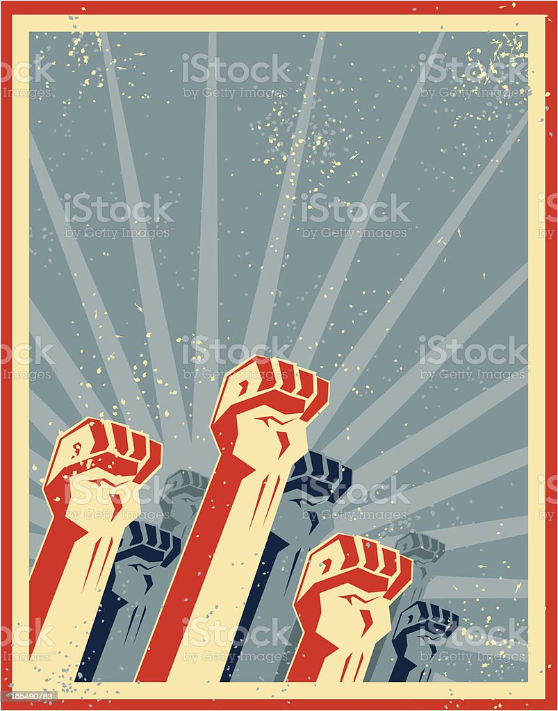 freedom fists vector art illustration