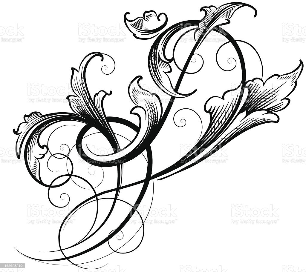 Freeform Leaf Scroll royalty-free stock vector art