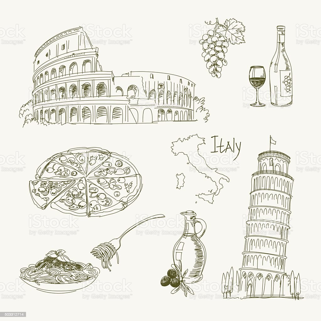 Freehand drawing Italy items vector art illustration
