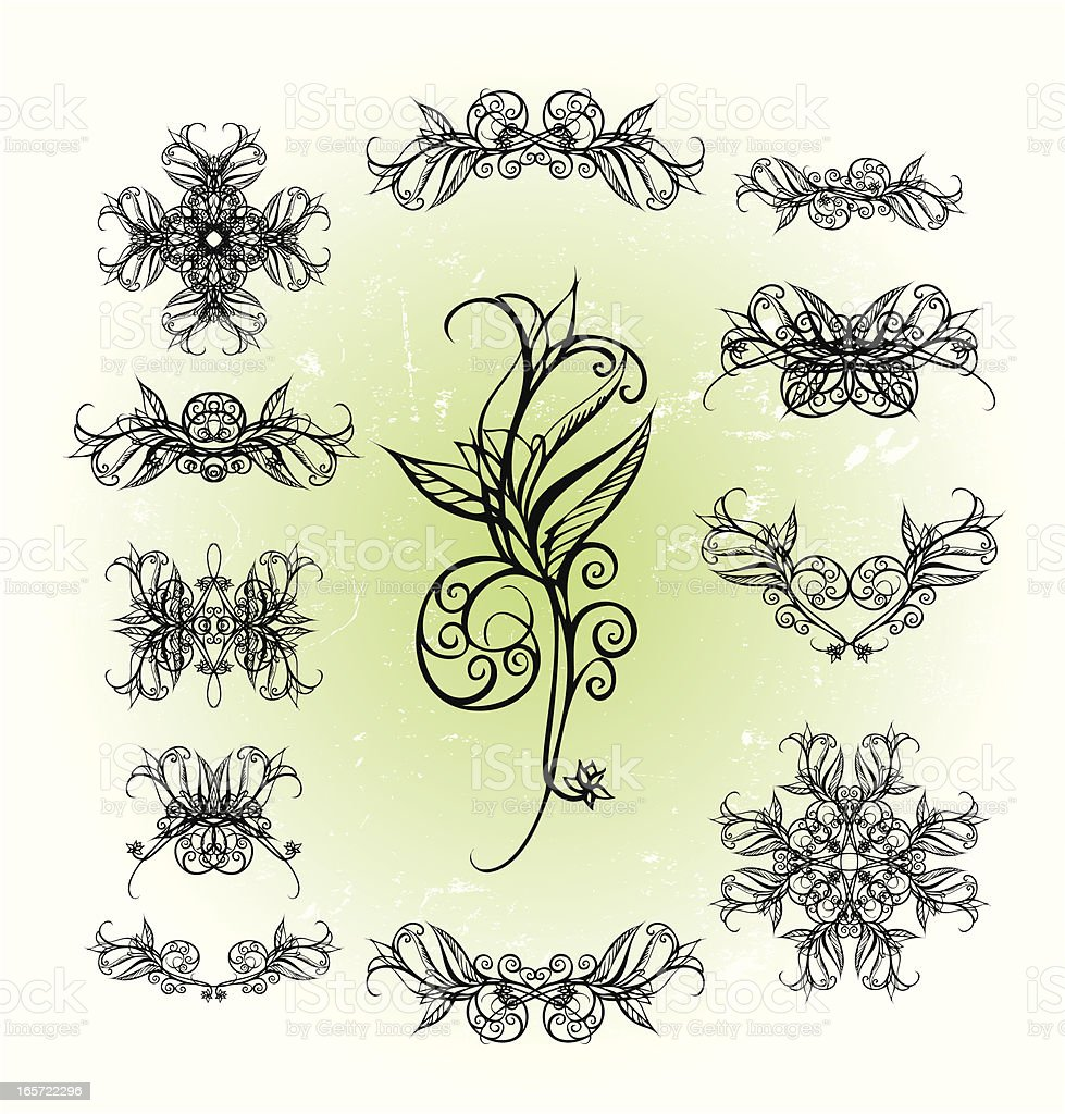 freehand flower elements royalty-free stock vector art