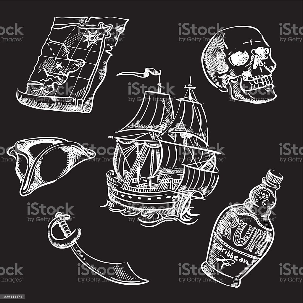Freehand pirate set for your design. vector art illustration