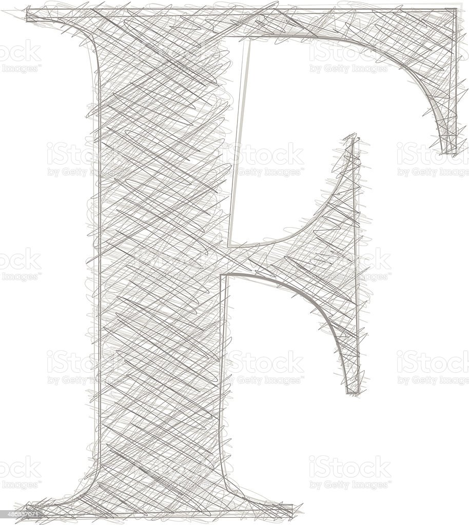 Freehand Typography Letter F royalty-free stock vector art