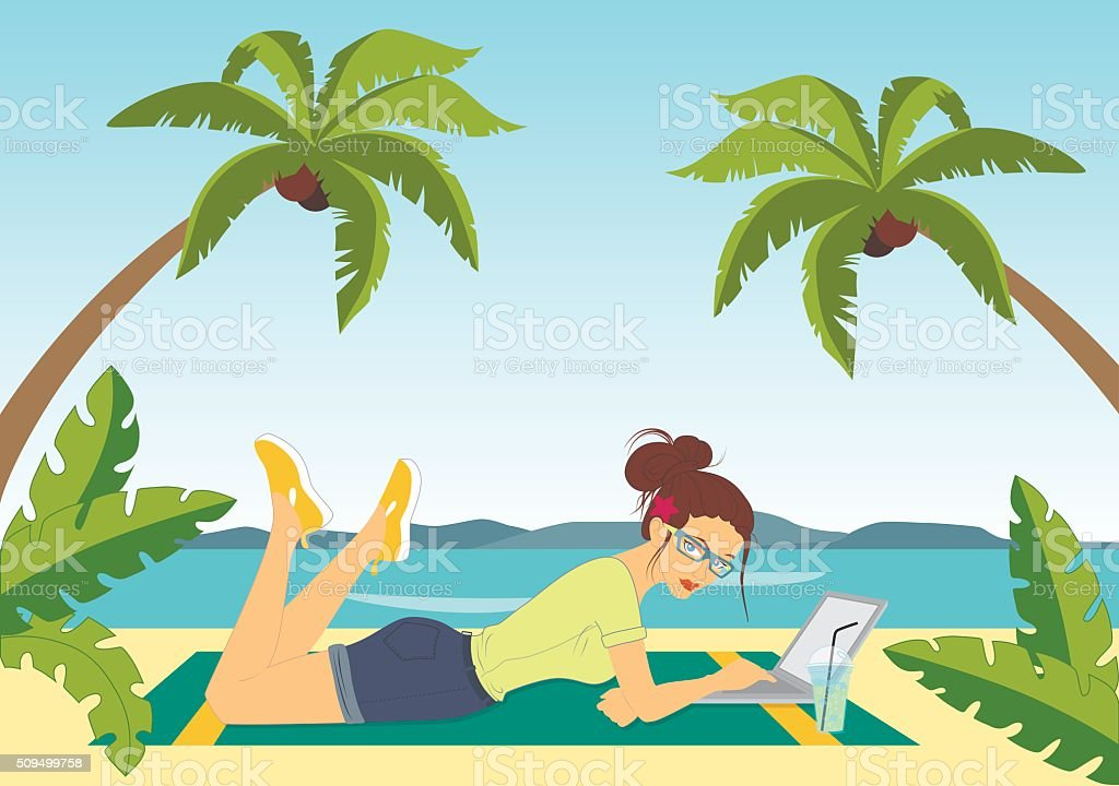 Freelance on the beach vector art illustration